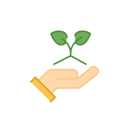 Illustration of hand holding two green leaves
