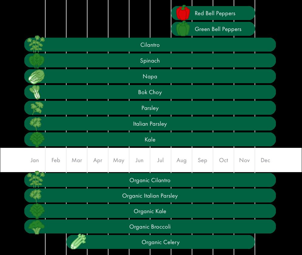 Chart showing produce growing seasons